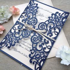 EMILY ♥ This invitation can be customized to match the colors of your event. Please ask for more details and available color options. FEATURED COLORS ~ Laser cut gatefold in Glittering Navy ~ Printing on Peach Blush Shimmer Card Stock ~ Peach Blush Ribbon ~ Peach Blush Shimmer Envelopes DIMENS