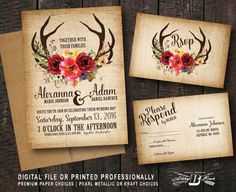 Rustic Wedding Invitation SET   Deer Antler Horns Burlap   Printed Invite Printable Digital File DIY   Floral Woodland Boho Fall Marsala