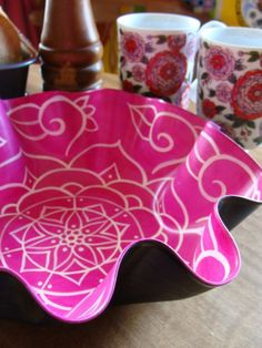 Rose Mandala Record Bowl  Bohemian Decor by EyePopArt on Etsy, $58.00