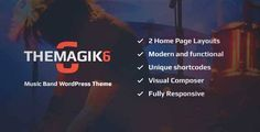 Download and review of The Magic 6 - Music Band & Musician WordPress Theme, one of the best Themeforest Entertainment themes