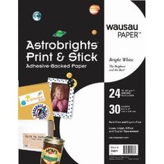 Wausau Astrobrights Print and Stick Adhesive Backed Heavy Duty Paper, 24 lb, x 11 Inches, White, 30 Sheets Fun Crafts, Diy And Crafts, Paper Crafts, Paper Craft Supplies, Personalized Tags, Printer Paper, Ms Gs, Sticker Paper, Diy Gifts