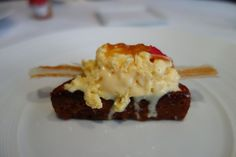 The Fat Duck - Berkshire, Windsor and Maidenhead, United Kingdom. NITRO-SCRAMBLED EGG AND BACON ICE CREAM - Pain Perdu, Tea Jelly
