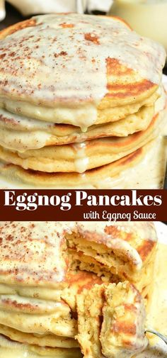 Soft, fluffy pancakes made with eggnog, spiced up with nutmeg, and topped with an easy Eggnog Sauce that can be make with or without rum. pfannkuchen for kids recipe einfach für kinder von Grund auf und pyjamaparty Fluffy Pancakes, Pancakes And Waffles, Breakfast Pancakes, Brunch Recipes, Breakfast Recipes, Breakfast Ideas, Crepes, Eggnog Recipe, Spiced Eggnog