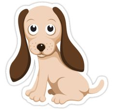 Cute stickers featuring an adorable brown little cartoon puppy dog
