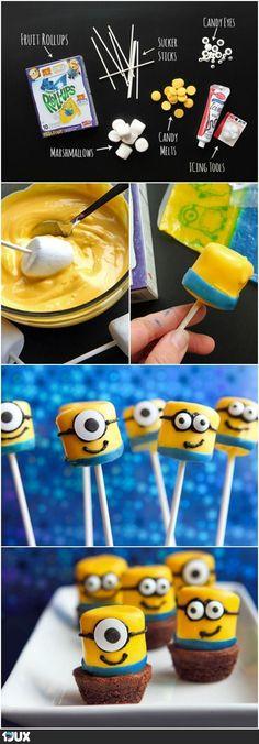 Marshmallow Despicable Me Minions! Too cute :-)Marshmallow Despicable Me Minions! Too cute :-) Marshmallow Despicable Me Minions! Too cute :-)Marshmallow Despicable Me Minions! Marshmallow Pops, Dipped Marshmallows, Yummy Treats, Sweet Treats, Yummy Food, Cupcakes Dos Minions, Minion Cake Pops, Pop Minion, Diy Cupcake