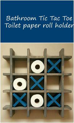 Bathroom Tic Tac Toe - Game - Made to order - Toilet paper roll holder - Toilet paper Tic Tac Toe - Pallet Wall art - Floating shelf - Decor aff