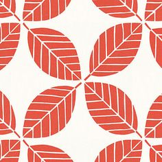 Coral Modern Leaf Indoor Outdoor Fabric - modern - outdoor fabric - by Loom Decor