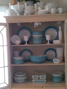 Vintage Pyrex Butterprint and milk glass - collectibles for the kitchen you can find at the Queen!