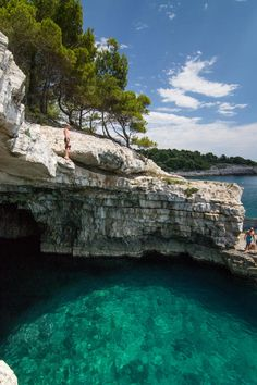 Croatian Pula hidden beach near Stoja autocamp, with carribean style crystal water and cave.