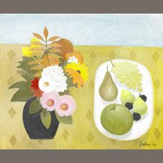 Mary Fedden R.A. (British, born 1915) Still life with flowers and pears 51 x 61 cm. (20 x 24 in.)