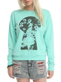 Mint crewneck pullover top from Disney's Alice in Wonderland with an Alice keyhole design on front.