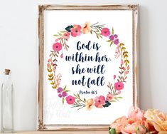 God Is Within Her She Will Not Fall, Psalm 46:5, Bible Verse Quotes, Scripture Art, Girl Nursery Wall Art Decor, Instant Download, Printable Nursery Bible Verses, Bible Verse Wall Art, Scripture Art, Baby Girl Nursery Decor, Nursery Wall Art, Hymn Art, Christian Wall Art, Christian Quotes, Christening Gifts