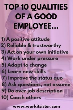 Here are the top ten qualities of a good employee. Get top tips on how to be a good employee and use these personal traits to improve your career! Job Interview Preparation, Job Interview Questions, Job Interview Tips, Job Interviews, Skype Interview, Resume Skills, Job Resume, Resume Tips, Good Employee