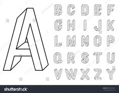 Impossible Geometry letters et of vector letters constructed on the basis of the isometric view Impossible shape optical illusion Sacred geometry Vector illustration 10 e. Font Hand Lettering, Lettering Brush, Block Lettering, Lettering Design, Logo Design, Design Web, Type Design, Graphic Design, Easy Drawing Tutorial