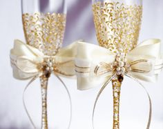 Gold Gatsby Style wedding Champagne Flutes/ Gold by DiAmoreDS