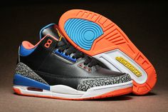 35df0735cced4e Air Jordan 3 Russell Westbrook OKC PE Elephant Print Black Blue Orange  Jordan Shoes For Sale
