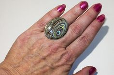 Extra Large, Detroit Agate (aka Fordite) set in a Vintage, Sterling Silver Ring - A Bold Statement Piece!! ~ mrfeld ~ FR108 by mrfeld on Etsy