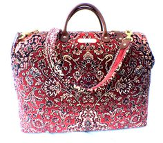 Carpet Bag Weekender / Overnight / Carry on / Red Persian