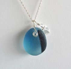 Sea Glass Jewelry Black and Blue End of Day by OceanCharmsSeaGlass, $36.00