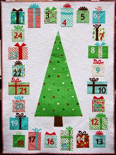 Advent quilt. The presents are actually pockets....love this! Going to copy it. So cute!