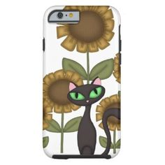 Sunflower Black Cat Phones