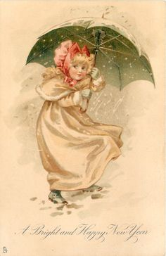 A BRIGHT AND HAPPY NEW YEAR girl in red bonnet walks right, looking front, under green umbrella in snow storm 1904
