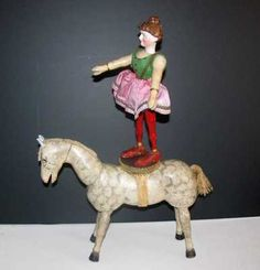 Schoenhut Circus Lady Rider with Bisque Head and GE White Horse | eBay