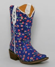 Bright Blue & Pink Sequin Tapered-Toe Cowboy Boot | Daily deals for moms, babies and kids