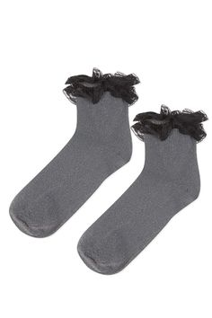 Glitter Double Lace Ankle Socks - Bags & Accessories- Topshop Europe