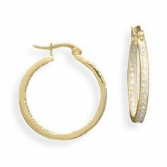 14 Karat Gold Plated In and Out Crystal Fashion Hoop Earrings JJ FashionTrends. $16.25. Save 35% Off!