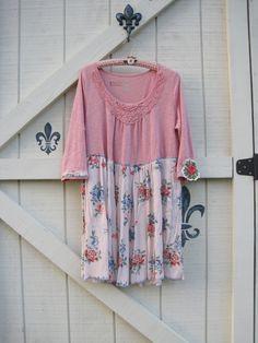 Pink floral boho dress Romantic hippie dress by ShabyVintage, $46.00