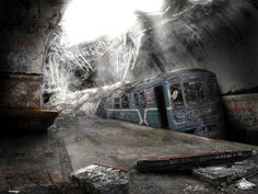 Talanted artist Vladimir Manyuhin aka was able to convey his view of such world in his matte art work. Amazing Apocalypse Art Pictures shows many things. All illustrations were created and imagine using various graphic programs such as Photoshop and … Abandoned Train, Abandoned Buildings, Abandoned Places, Abandoned Detroit, Post Apocalypse, Jordy Baan, Post Apocalyptic Art, Widescreen Wallpaper, End Of The World