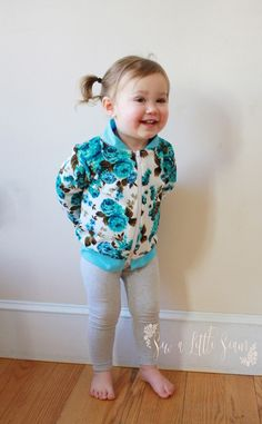 Floral Bomber Jacket: Tutorial and Free Pattern - Sew a Little Seam Toddler Sewing Patterns, Sewing Kids Clothes, Baby Sewing, Patterned Bomber Jacket, Floral Bomber Jacket, Baby Girl Shirts, Shirts For Girls, Jacket Pattern, Jackets