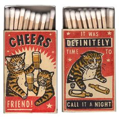 "Amusing Matchboxes Show Drunk Cats In ""Embarrassing"" Situations - I Can Has Cheezburger? Nocturne, Drunk Cat, Fluffy Black Cat, Night Bar, Matchbox Art, Cat Character, Cat Drinking, Street Graffiti, Vintage Packaging"