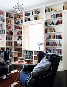 "I like that the bookcase sort of ""engulfs"" the window! From ""desire to inspire -- Down on the farm"" -- see another room from this house here: http://pinterest.com/pin/175218241725069280/"