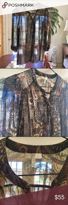 Joie Sheer Paisley Top I only wore this a few times last summer. Sheer silk for hot summer days but offers enough coverage as well. Joie Tops Button Down Shirts