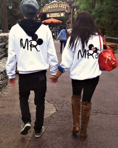 ahhh! cute #disney mr. and mrs. hoodies!