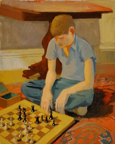 Laurence Playing Chess - Fairfield Porter, 1957 American, 1907-1975 Oil on canvas, 45 ½ x 36 ½ inches
