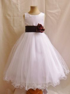 Classykidzshop White Sleeveless Poly Satin Tea-Length Special Occasion Dress - 1T White/Brown