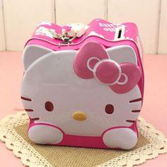 Lovely Moneybox Cartoon Hello Kitty Coin Piggy Bank Money Box Money Saving Box with Lock Gifts For Kids C0