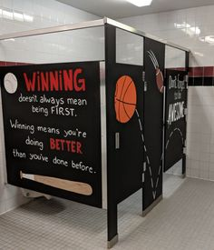 Inspiration Stalls - Boys School Bathroom Stall Art Makeover and Positive Messages Don't Forget to Be Awesome, Winning, Sports