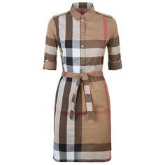 Burberry Check Cotton Shirt Dress ($520) ❤ liked on Polyvore featuring dresses, long shirt dress, print dress, shirt dress, brown cotton dress and summer shirt dresses