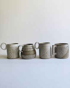 Mugs, new shapes along side old favorites, the speckled ones made custom for @indobayliving_theessentialhome I'm planning on restocking my online shop with these shapes soon and possibly having them available for preorder if anyone is interested. #forgedandfoundpottery