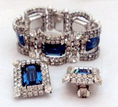 KRAMER New York Rhinestone & Sapphire Blue Rhinestone Curved Link Bracelet, Earring Set.