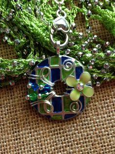 Beautiful Lime Green and Blue Washer Pendant by KsPeddlers on Etsy, $23.00