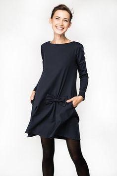 Abito con fiocco Caduta vestire Vestito blu scuro LeMuse