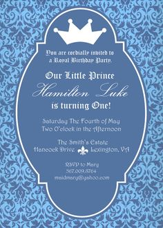 Prince 1st birthday invitation templates edits with word kids birthday invite prince princess crown blue by ptwatersdesigns 1200 stopboris Image collections