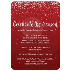 Best red and white falling snow corporate or company holiday or Christmas party invitation with vintage typography.