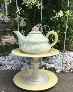 Teapot whimsy ceramic garden whimsy garden by BsCozyCottageCrafts