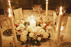 Lovely table centre pieces for a Christmas wedding